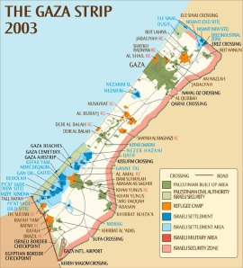 the gaza strip occupied terrorities 2003 map