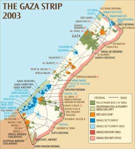 the gaza strip occupied terrorities 2003 map